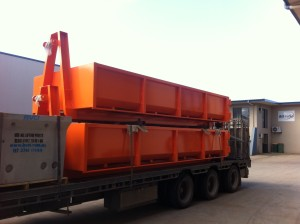 12m Hook Lift Bin - Painted and Loaded for Delivery