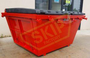 2m3 Lockable Skip Bin Red - Skip Factory