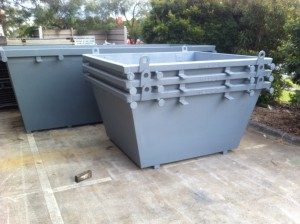 2m3 skip with lifting eyes stacked