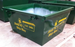 2m3 Skip Bin - Painted and Stenciled