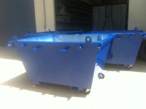 2m3 Skip Bins - with Fork Tunnels Lifting Eyes, Tipping Eyes and Castors