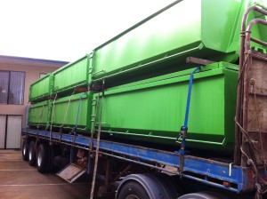 6m3 Hook Lift Bins - Loaded on the Truck