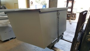 Forklift carrying a forklift tipping bin | Manufactured by Skip Factory